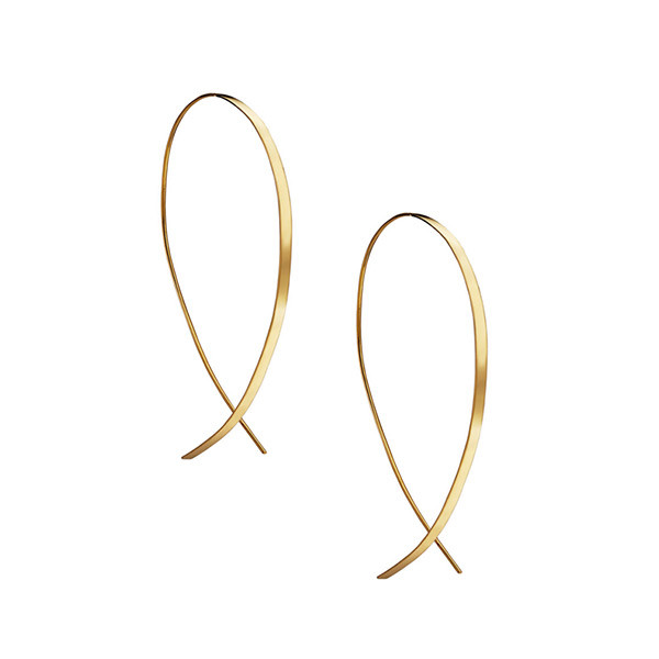 Lana Yellow Gold Small Upside Down Flat Hoops