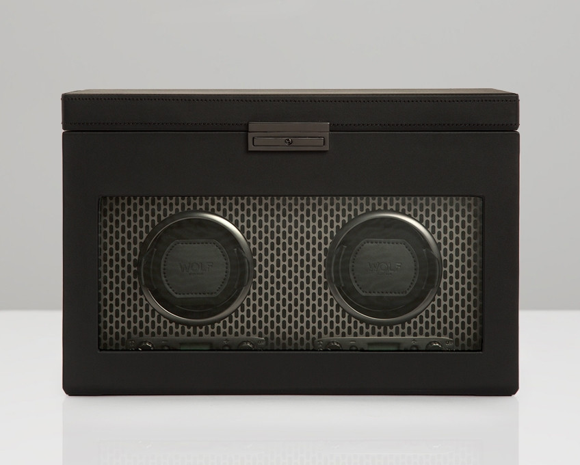 Wolf Axis Double Watch Winder Storage in Powder Coat