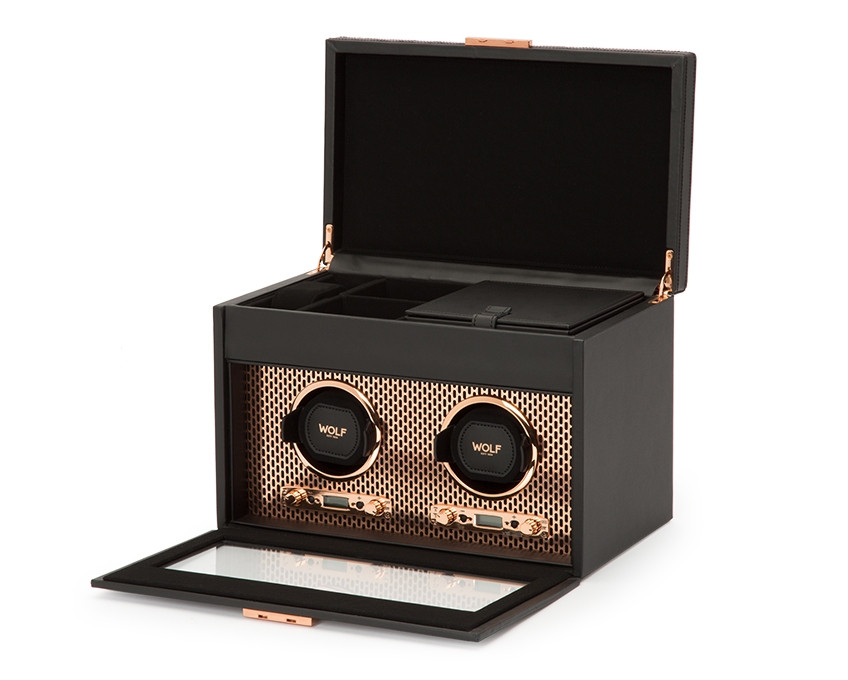 Wolf Double Watch Winder with Storage in Copper Opened View