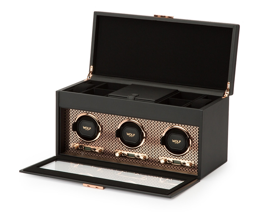Wolf Axis Triple Watch Winder Storage in Copper Opened View