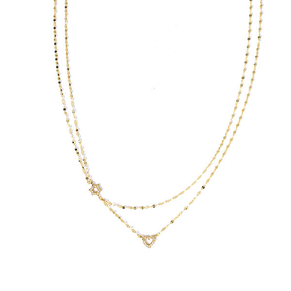 Lana Diamond Star of David & Heart Duo Necklace