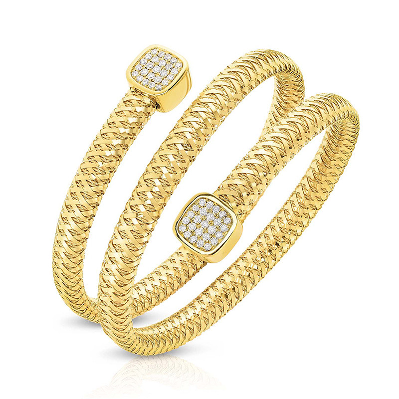 Roberto Coin Yellow Gold Diamond Double Coil Primavera Bracelet