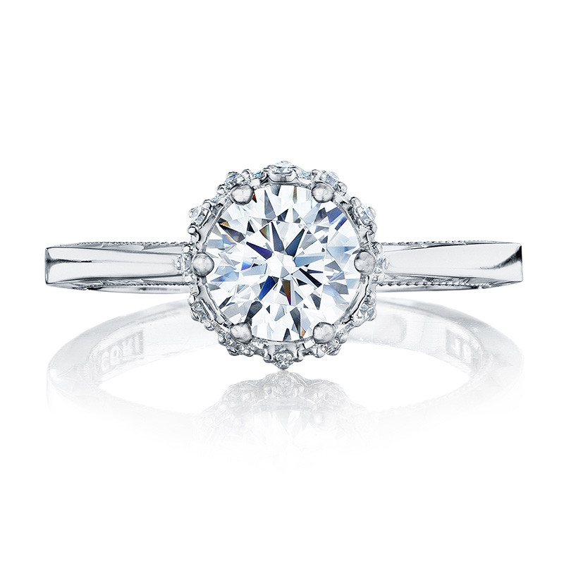 Tacori 59-2RD Pave Diamond Floral Engagement Ring Sculpted Crescent Setting Top View