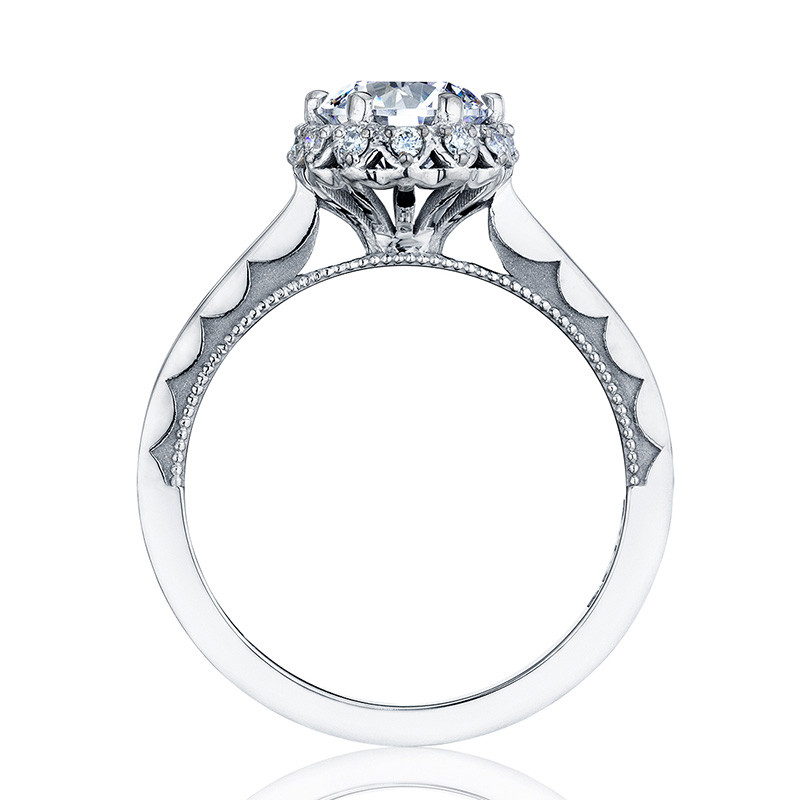 Tacori 59-2RD55 Platinum Floral Engagement Ring Sculpted Crescent Setting Edge View