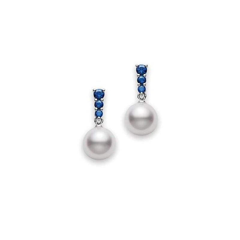 Mikimoto Morning Dew Akoya Pearl and Blue Sapphire Earrings 8mm