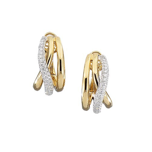 """Roberto Coin Yellow Gold Crossover """"J"""" Hoop Earrings"""