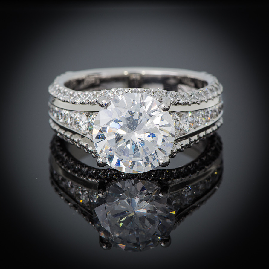 New Collection Platinum Channel Set Diamond Engagement Setting