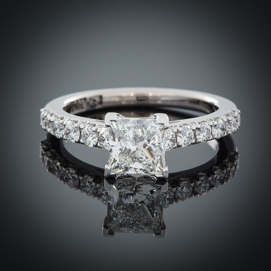 Ever Brilliant Princess Cut Engagement Ring Setting
