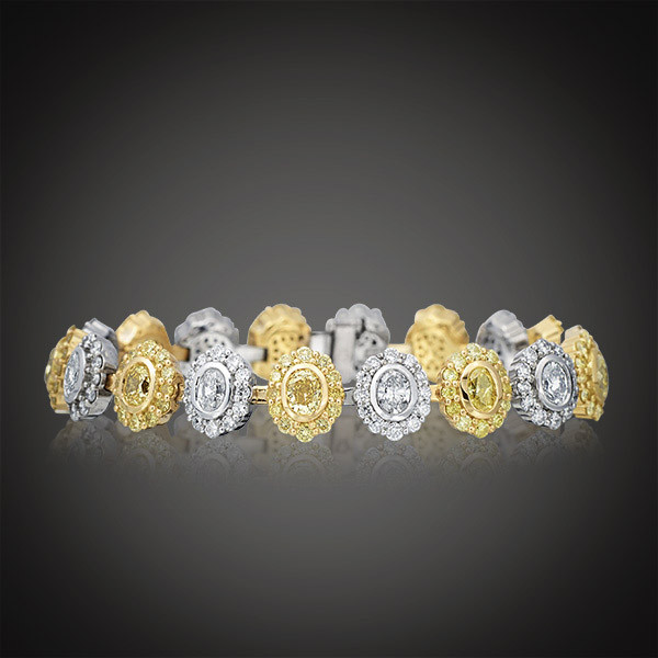 Fancy Yellow & White Diamond Flower Bracelet