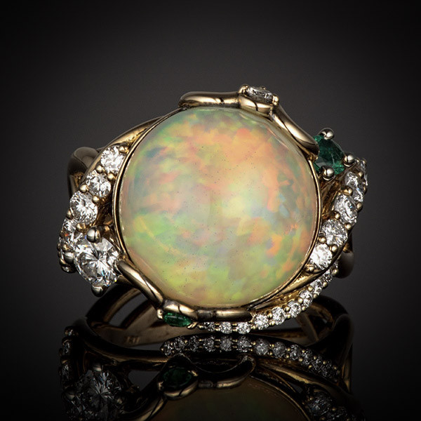 Robert Pelliccia Yellow Gold Opal, Emerald & Diamond Cocktail Ring Front  View