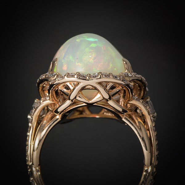 Robert Pelliccia Yellow Gold Opal, Emerald & Diamond Cocktail Ring Full View