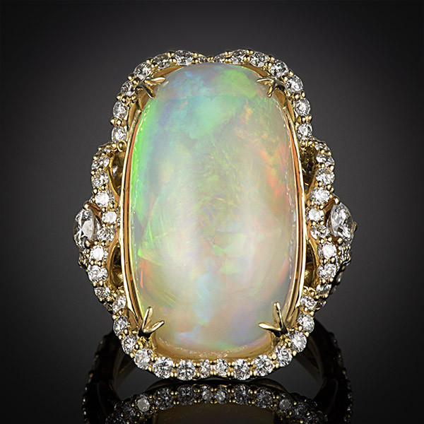 Robert Pelliccia Yellow Gold Oval Opal Diamond Ring Front View