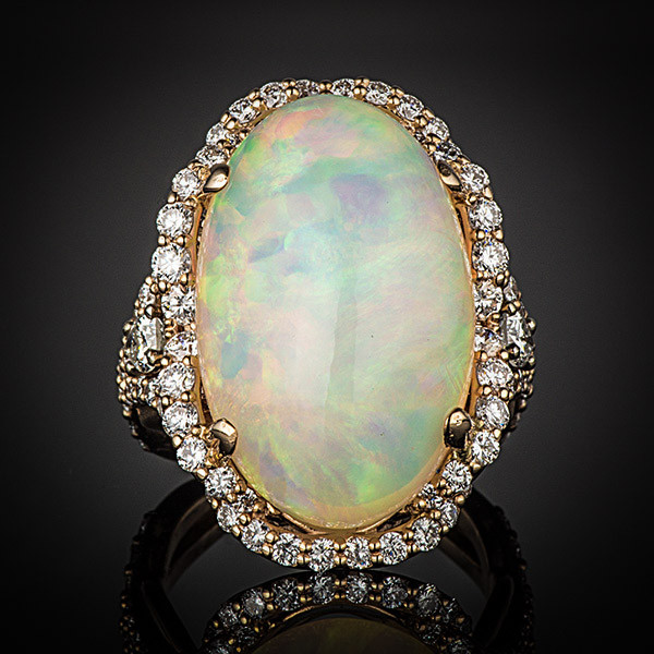 Robert Pelliccia Rose Gold Oval Opal & Diamond Ring Front View