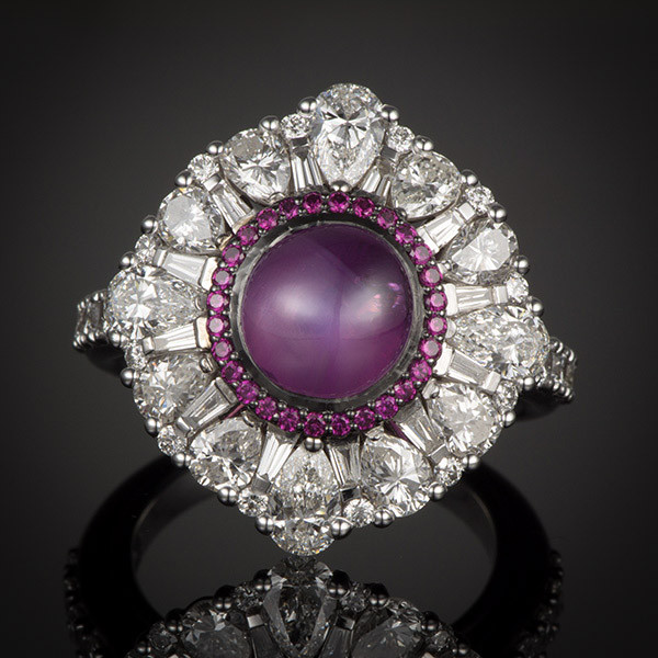Robert Pelliccia White Gold Star Ruby & Diamond Ring Front View
