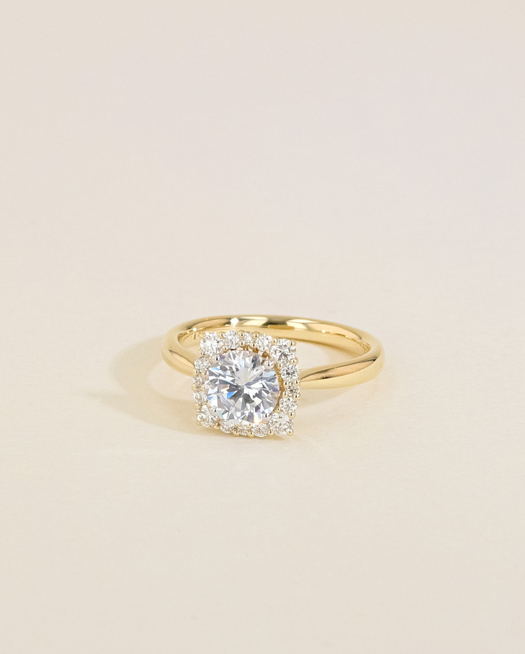 Vintage Diamond Cushion Halo Engagement Ring angle view