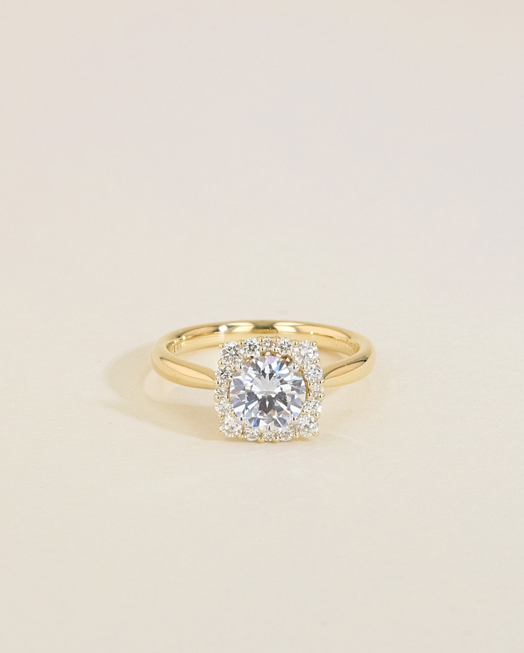 Vintage Diamond Cushion Halo Engagement Ring front view