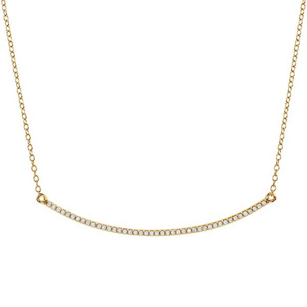 ac8f1ec050cd8 Yellow Gold Diamond Curved Bar Necklace