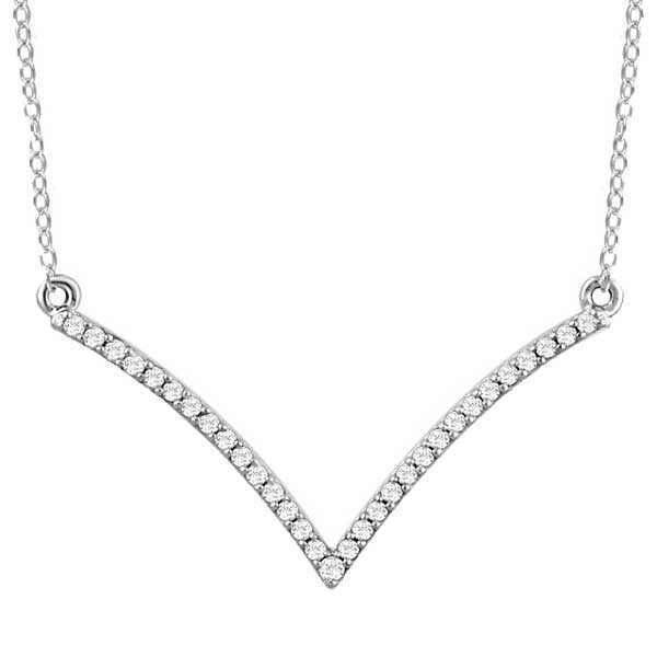 White Gold Diamond V Necklace
