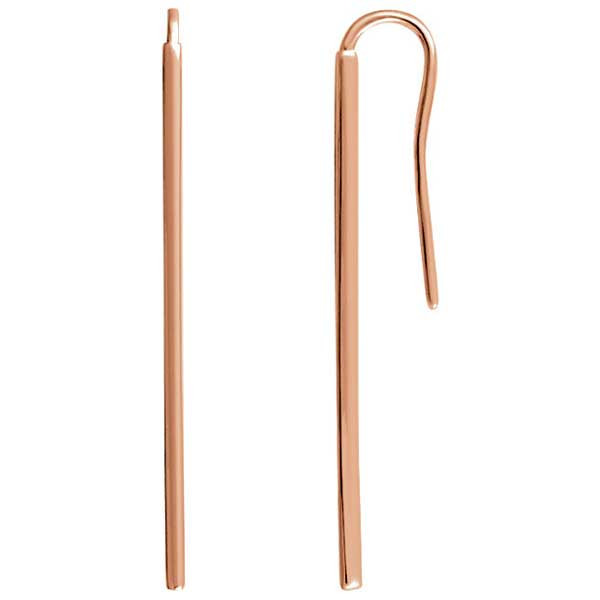 Rose Gold Vertical Bar Drop Earrings
