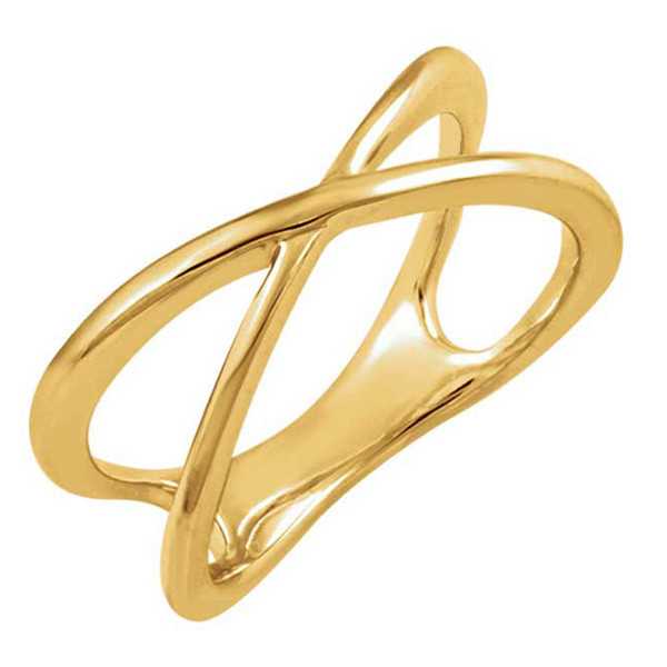 Yellow Gold Criss Cross Ring