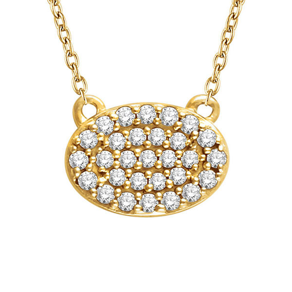 Yellow Gold Oval Diamond Cluster Necklace