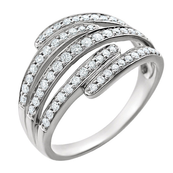 White Gold Overlapping Diamond Ring