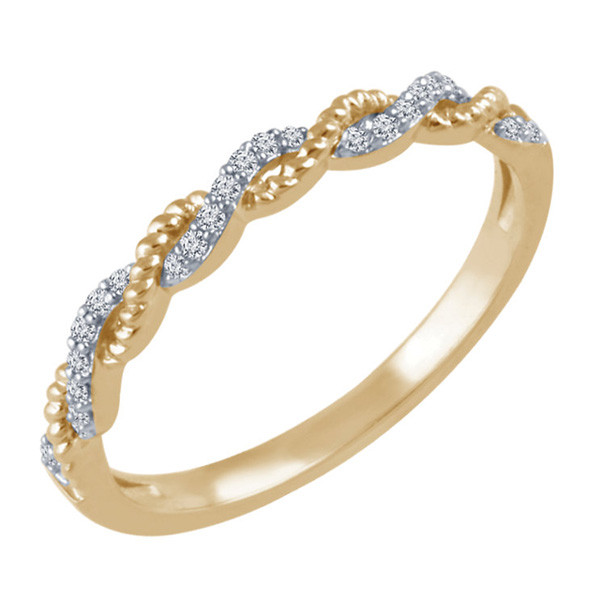 Yellow Gold Diamond Stackable Ring