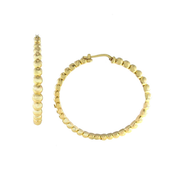 Roberto Coin Extra Large Yellow Gold Beaded Hoop Earrings
