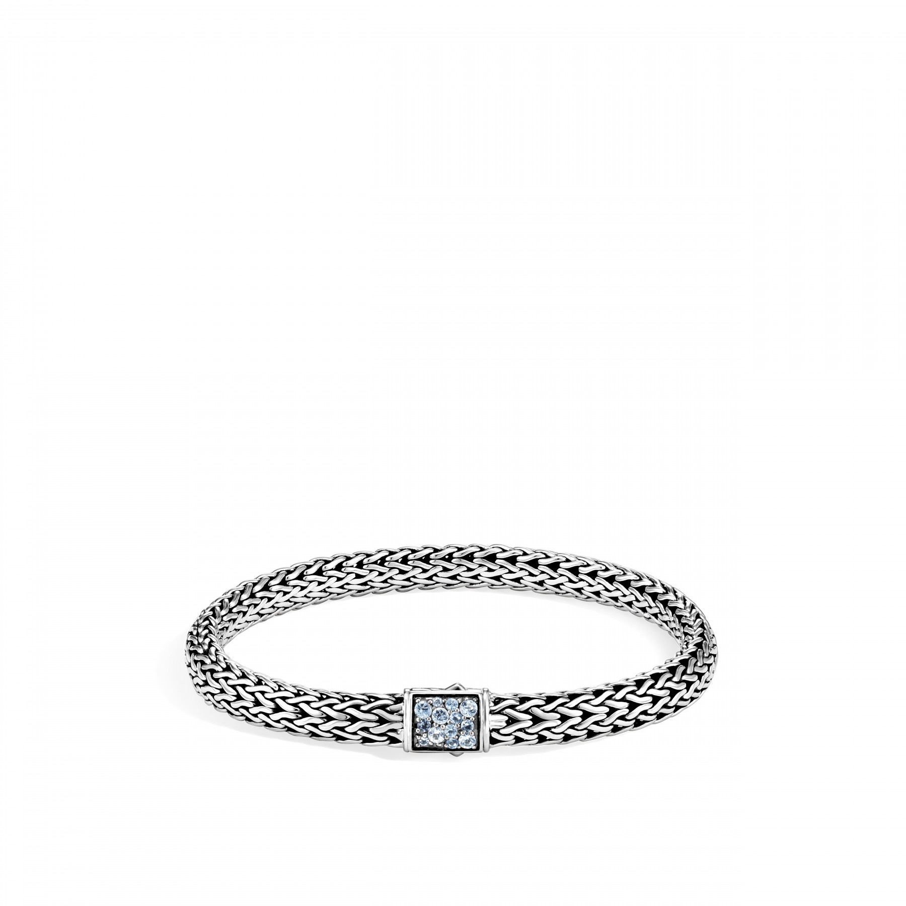 John Hardy Classic Chain Diamond and Aquamarine Bracelet - 6.5MM FRONT IMAGE