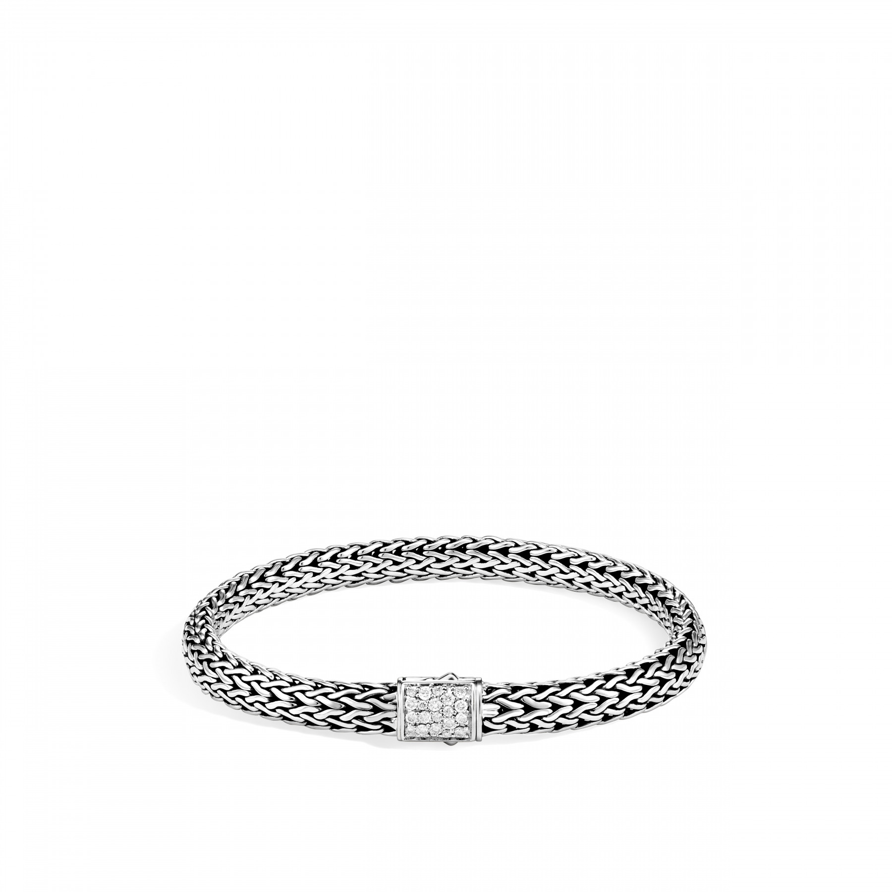 John Hardy Classic Chain Diamond and Peridot Bracelet - 6.5MM in Silver front image