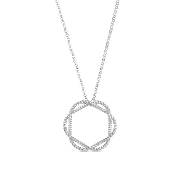 Roberto Coin New Barocco Braided Circle Pendant Necklace
