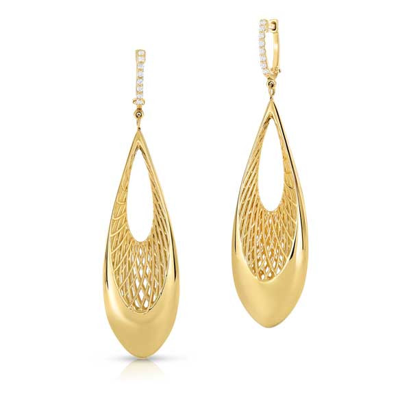 Roberto Coin Golden Gate Diamond Drop Earrings