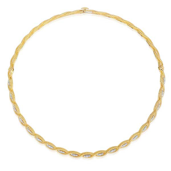 Roberto Coin New Barocco Diamond Braided Choker Necklace