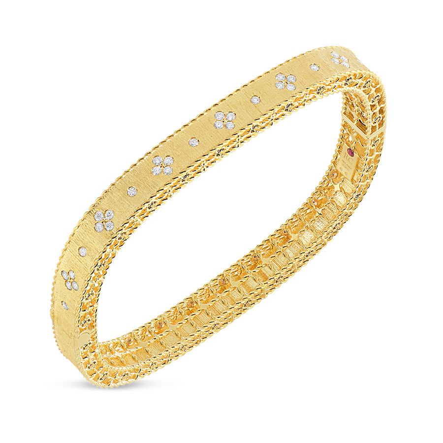 Roberto Coin Yellow Gold Diamond Bangle Princess Bracelet