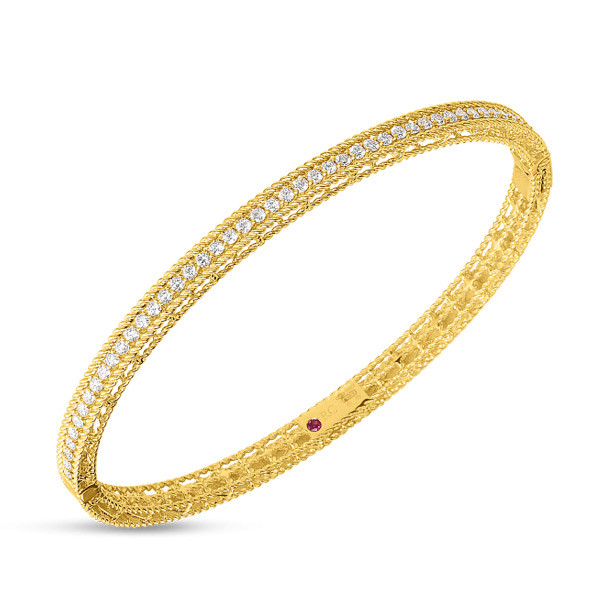 Roberto Coin Yellow Gold Symphony Princess Diamond Bangle