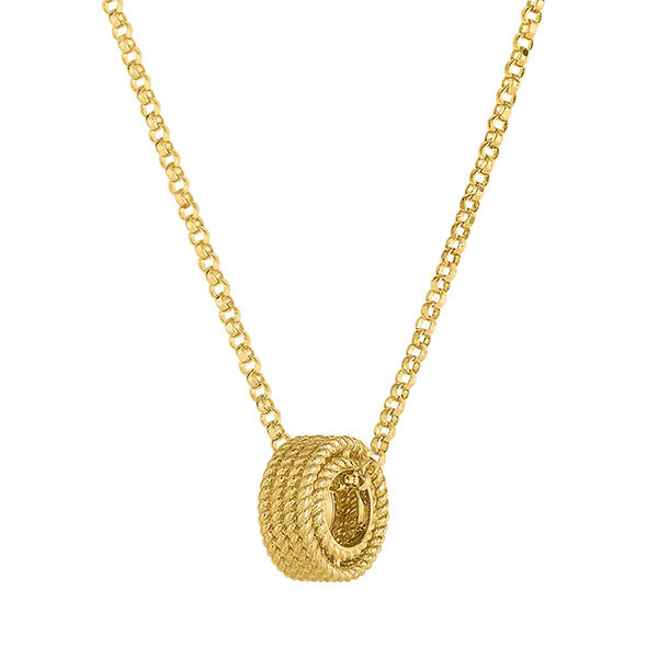 Roberto Coin Symphony Barocco Yellow Gold Pendant Side View