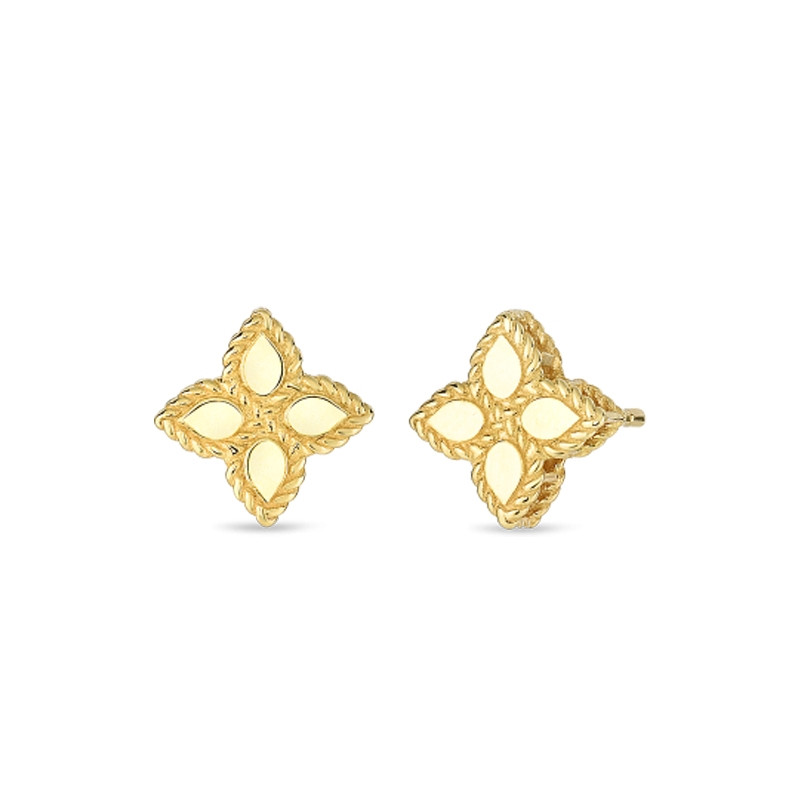 Roberto Coin Yellow Gold Small Princess Flower Stud Earrings