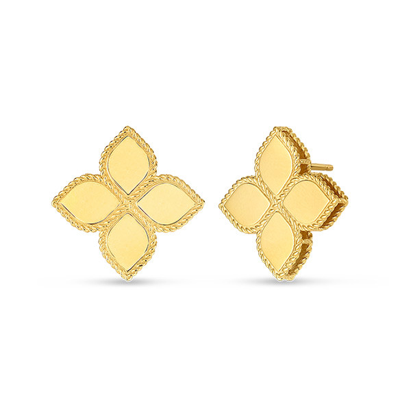 Roberto Coin Princess Flower Yellow Gold Earrings