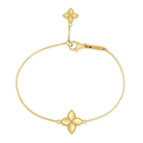 Roberto Coin Princess Flower Yellow Gold Charm Bracelet