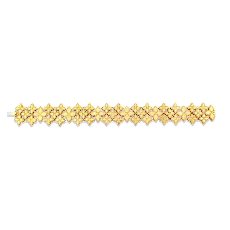 Roberto Coin Yellow Gold Princess Flower Wide Link Bracelet