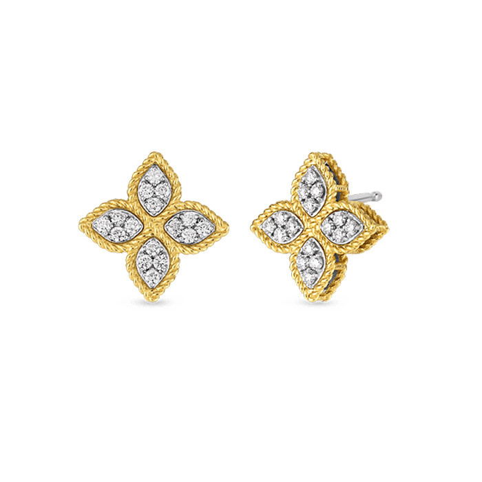 Roberto Coin Yellow Gold Diamond Princess Flower Earrings