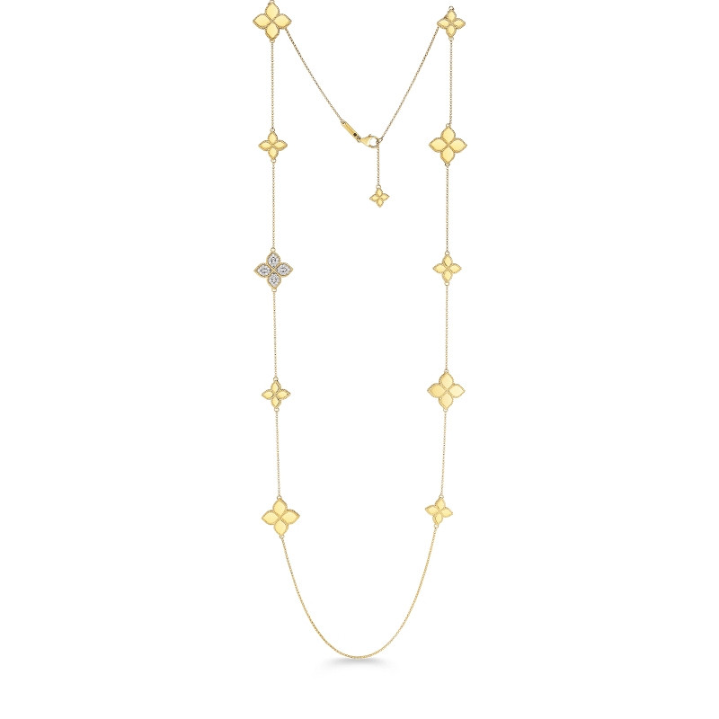 Roberto Coin Yellow Gold Diamond Accent Princess Flower Station Necklace
