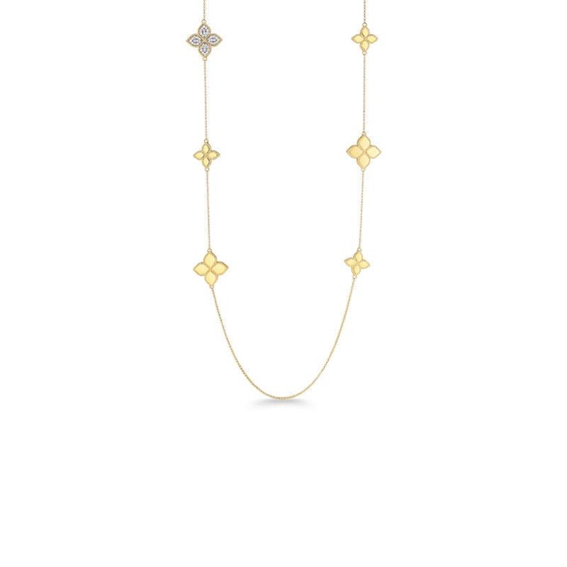 Roberto Coin Yellow Gold Diamond Accent Princess Flower Station Necklace Close Up