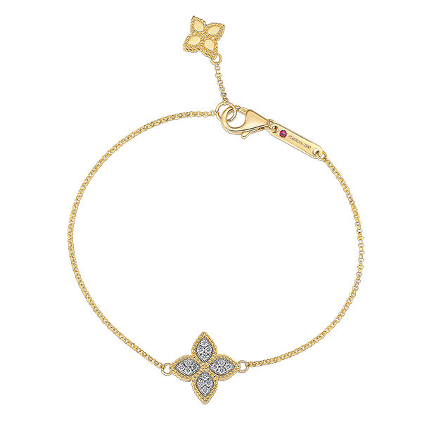Roberto Coin Diamond Princess Flower Charm Bracelet