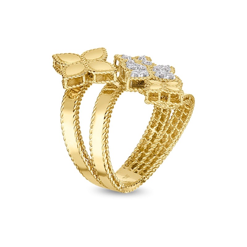 Roberto Coin Yellow Gold Four Flower Diamond Bypass Princess Flower Ring Angle View