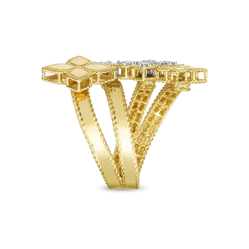 Roberto Coin Yellow Gold Four Flower Diamond Bypass Princess Flower Ring Side View