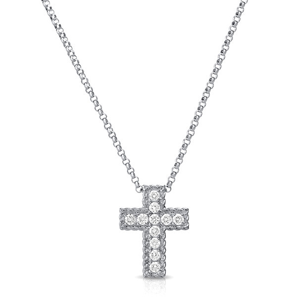 Roberto Coin Diamond White Gold Cross Pendant Necklace