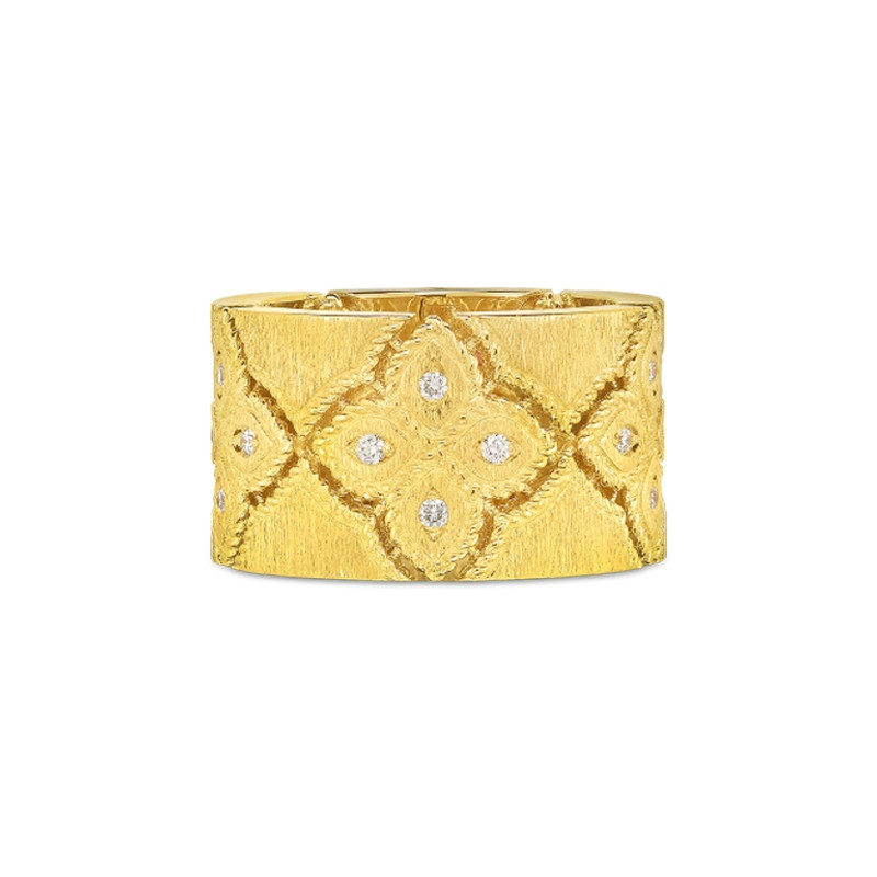 Roberto Coin Satin Yellow Gold Wide Venetian Princess Diamond Ring