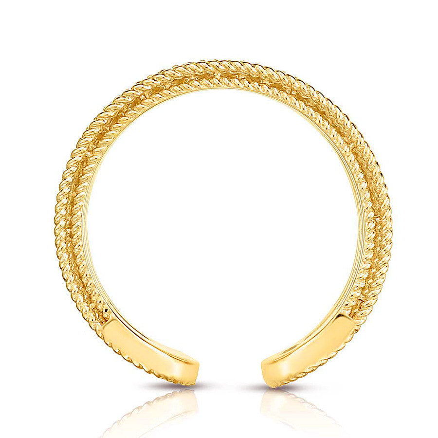 Roberto Coin Yellow Gold Symphony Two Row Diamond Barocco Ring Side View