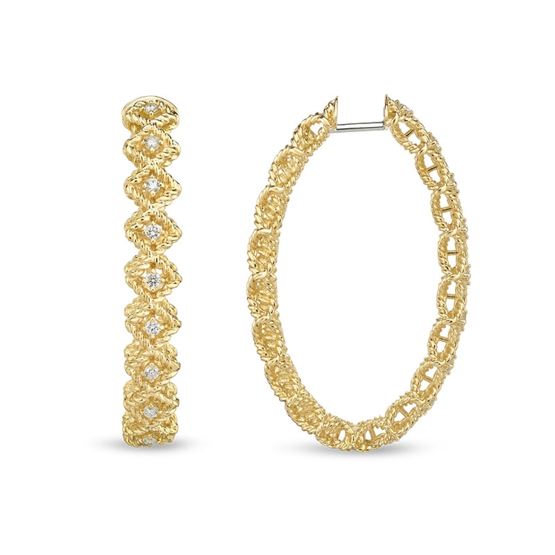 Roberto Coin Roman Barocco Large Oval Yellow Gold Diamond Hoop Earrings